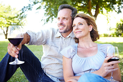 Buy stock photo A happy mature couple enjoys some wine while having a picnic in the park