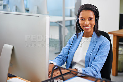Buy stock photo Portrait of an attractive young female call center operator