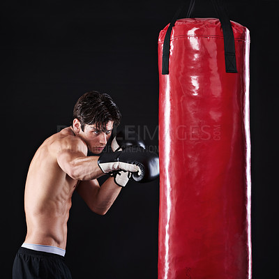 Buy stock photo Studio shot of a young mixed martial artist