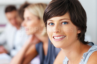 Buy stock photo Closeup of pretty young woman with blur people in background