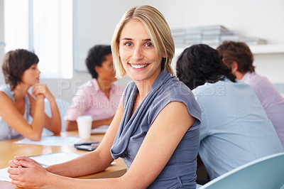 Buy stock photo Happy blond smiling with team discussing in meeting