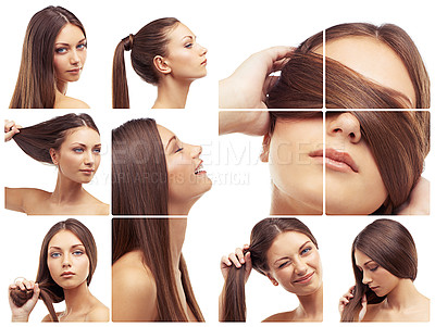 Buy stock photo Composite shot of various images of hair care