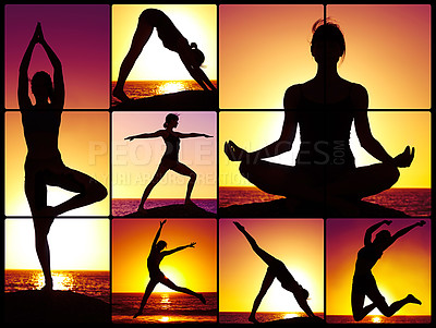 Buy stock photo Composite image of a woman doing yoga on a beach at sunset