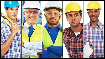 Buy stock photo Combined portraits of building contractors