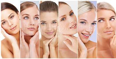Buy stock photo Composite image of a group of beautiful women