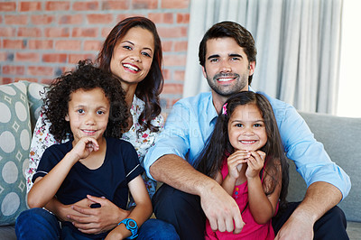 Buy stock photo Portrait shot of a happy family