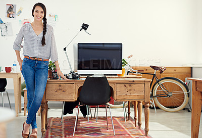 Buy stock photo Cropped shot of an attractive young woman in her office