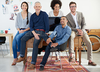 Buy stock photo Portrait of a team of designers in their modern office