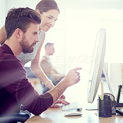 Buy stock photo Cropped view of two young designers working together