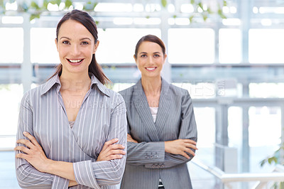 Buy stock photo Attractive young businesswoman with her coworker standing behind her - portrait
