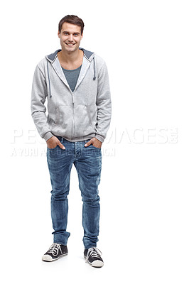 Buy stock photo Casual young man standing and smiling at the camera - isolated