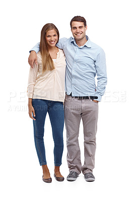 Buy stock photo Happy young couple smiling at the camera - isolated