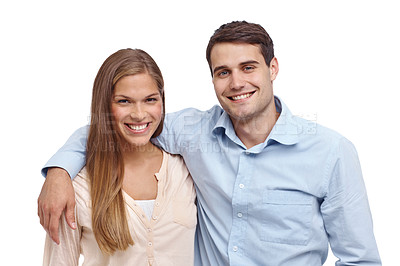 Buy stock photo Happy young couple smiling at the camera - head and shoulders