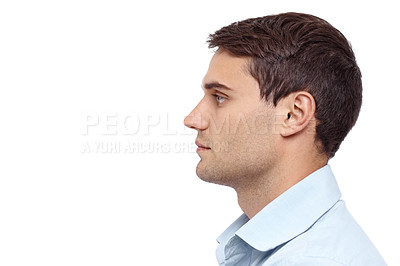 Buy stock photo Closeup profile of a young handsome man - copyspace