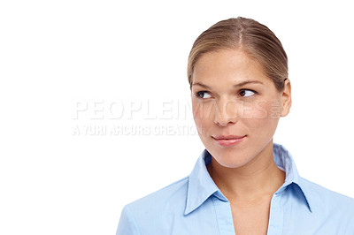 Buy stock photo Gorgeous young blonde woman looking sideways - closeup