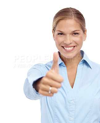 Buy stock photo Happy young woman giving a thumb's up