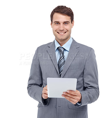Buy stock photo Handsome young businessman holding a document - portrait
