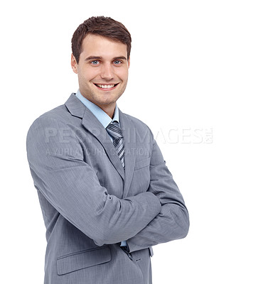 Buy stock photo Handsome young businessman standing with his arms folded - isolated