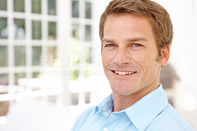 Buy stock photo Mature man smiling while indoors at home