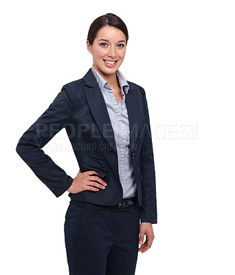 Buy stock photo Smiling young businesswoman against a white background with her hand on her hip