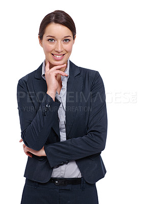 Buy stock photo Smiling young businesswoman thinking against a white background