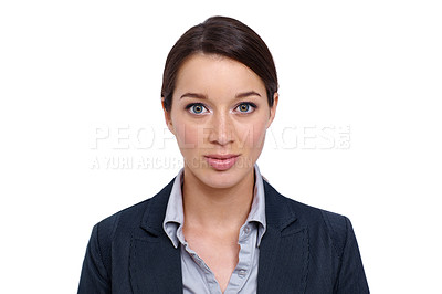 Buy stock photo Young businesswoman looking serious against a white background