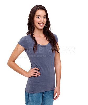 Buy stock photo Casually dressed young woman smiling while standing against a white background