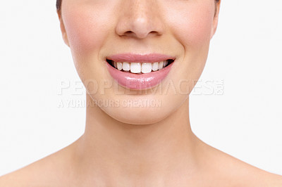 Buy stock photo Cropped image of a young beauty isolated on a white background