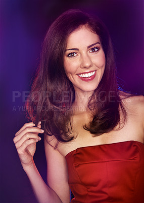 Buy stock photo Closeup portrait of an attractive brunette woman playing with her hair