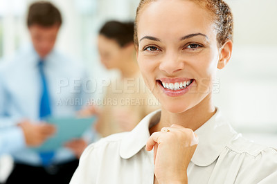Buy stock photo Closeup of happy and successful businesswoman with people in background