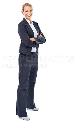 Buy stock photo A confident businesswoman standing with her arms crossed