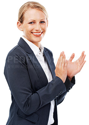 Buy stock photo A beautiful businesswoman applauding