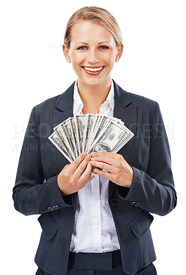 Buy stock photo A beautiful young businesswoman holding a wad of money notes