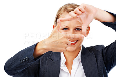 Buy stock photo A beautiful young businesswoman making a frame with her fingers