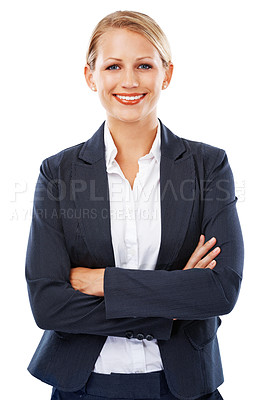 Buy stock photo A confident young businesswoman standing with arms folded
