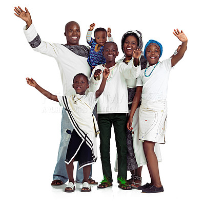 Buy stock photo Studio shot of a traditional african family waving happily, isolated on white