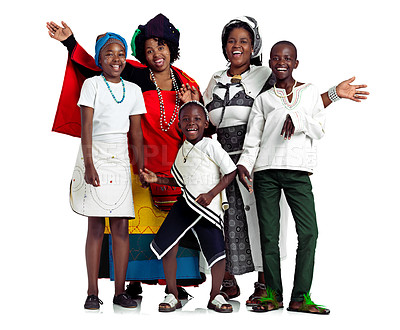 Buy stock photo Studio shot of two traditional african women with their children against a white background