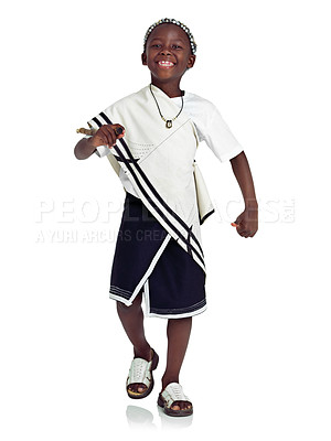 Buy stock photo A young african boy against a white background