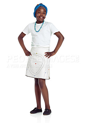 Buy stock photo An african teenage girl standing against a white background