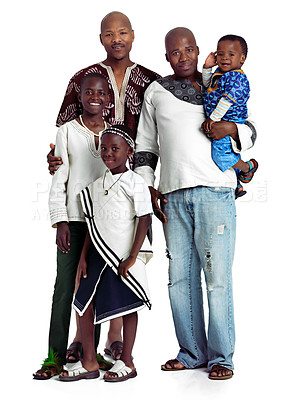 Buy stock photo Studio shot of two african men with their kids isolated on white