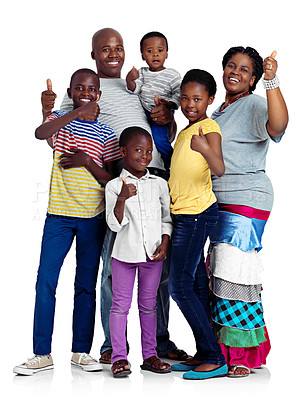 Buy stock photo Studio shot of an african family giving thumbs up signs, isolated on white