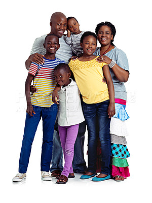 Buy stock photo Studio shot of a happy african family isolated on white