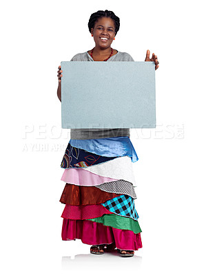 Buy stock photo Studio portrait of an african woman holding up a blank board against a white background
