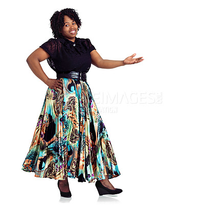 Buy stock photo Studio portrait of an african woman posing in a fashionable outfit against a white background