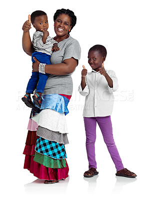 Buy stock photo Studio shot of an african woman with two children