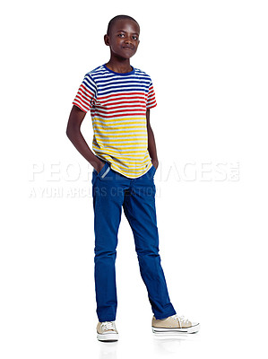 Buy stock photo Full length studio shot of an african teenage boy standing against a white background