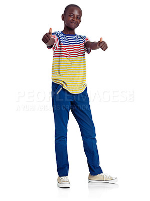 Buy stock photo Full length studio shot of an african teenage boy giving a double thumbs up in front of a white background