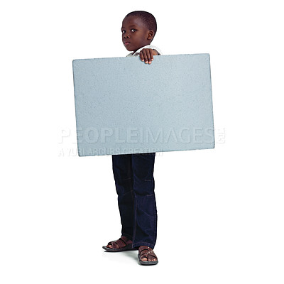 Buy stock photo Full length studio shot of a young african girl holding a blank board
