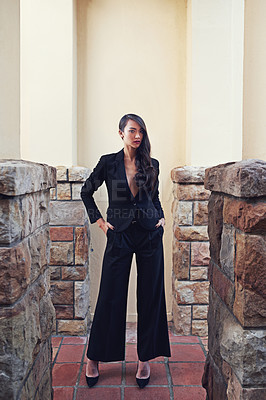 Buy stock photo Full length shot of a woman wearing a classic feminine suit