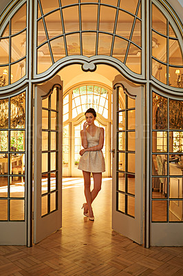 Buy stock photo Full length portrait of a stunning young woman standing in her elegant home